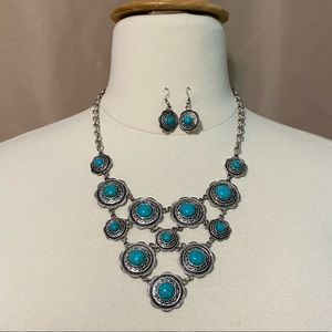 Silver & Turquoise Necklace Earrings Set